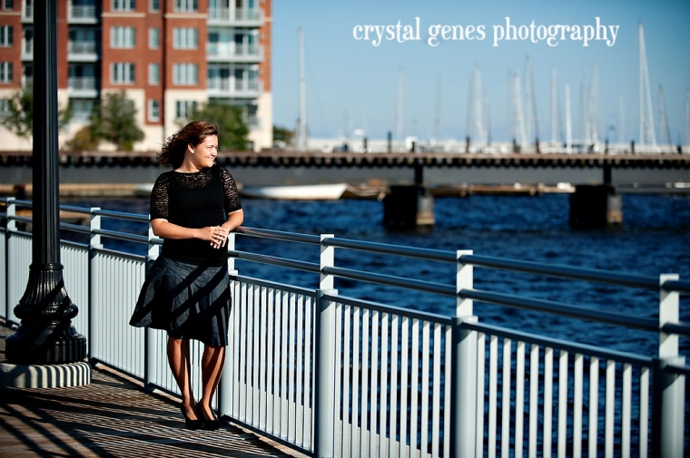 high school senior portrait on the trent river in downtown new bern nc
