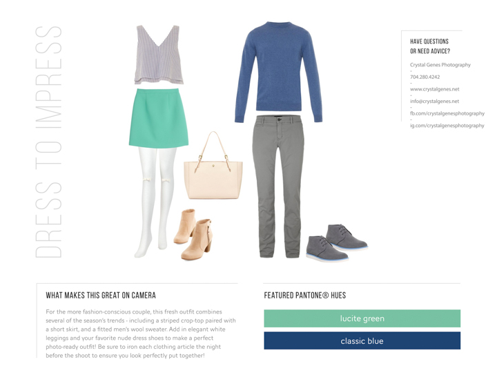 pantone lucite green and classic blue what to wear spring 2015 engagement couples